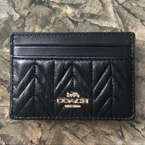 Quilted Leather Coach Card Holder